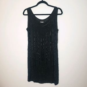 DKNY Vintage 90's Black Silk Beaded Evening Dress